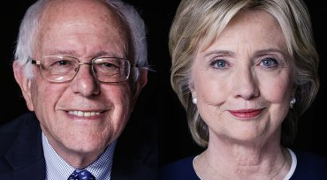 2016 presidential candidates Bernie Sanders and Hillary Clinton.